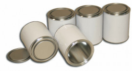 750 ml (box of 80) White/Plain Lever Lid Tin