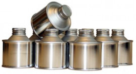 125 ml Round Cone Top Tin with Cap and Seal- Plain/Plain